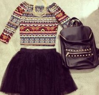 bag backpack black studs floral print crop top black skirt top