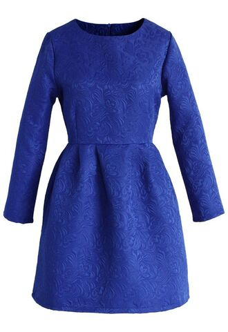 blue dress sapphire blue dress royal blue dress jacquard dress floral embossed long sleeve dress pleated www.ustrendy.com