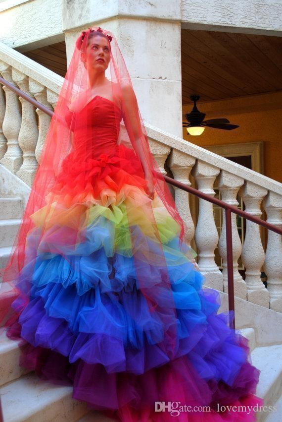 Ball Gown Rainbow Wedding Dress Long Colourful Tiered Skirts Count ...