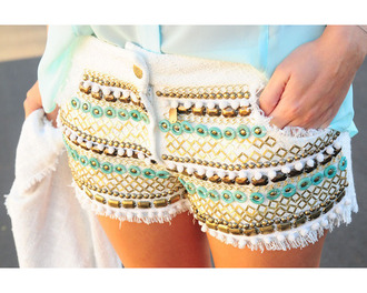 shorts cut off shorts aztec aztec short cute gold mint