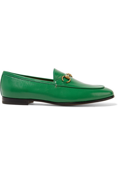 gucci loafers leather green shoes