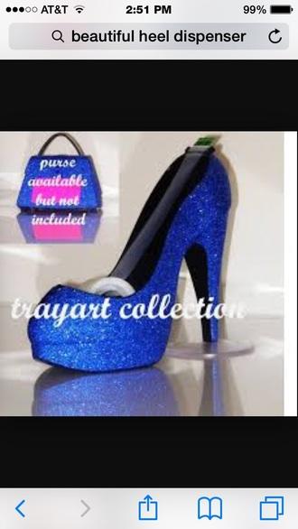 hair accessory blue glitter jewel gem tape dispenser