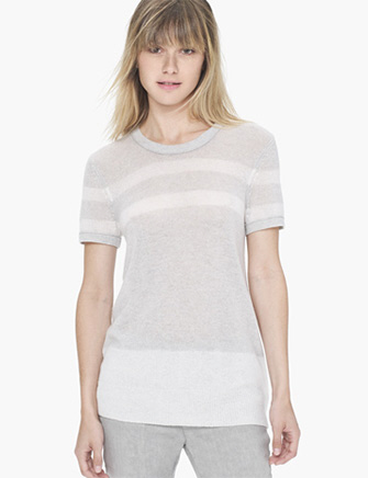 James Perse Lightweight Cashmere Striped Tee in Gray - Avenue K