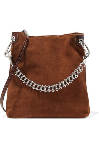light bag shoulder bag suede brown