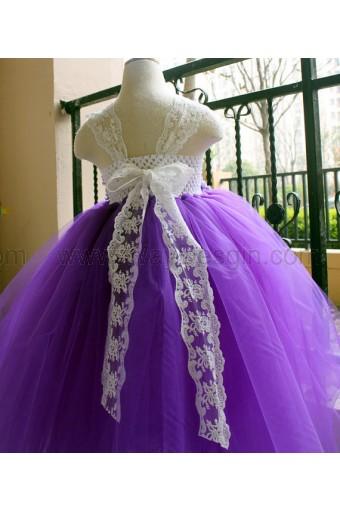 Flower Girl Dress Purple lace tutu dress baby dress toddler birthday dress wedding dress