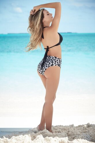 swimwear bikini padded black push up top animal print high waisted bottoms full coverage halter top style mapalé