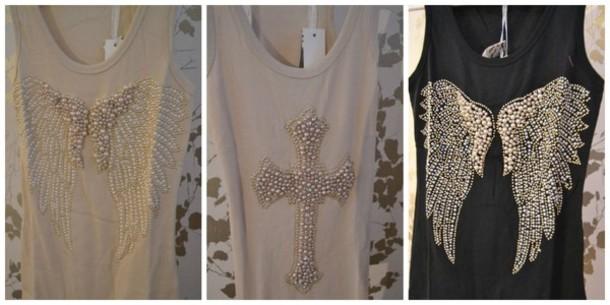tank top top cross wings angels angel wings