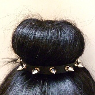 scarf hair band studded rivet spikes headband fashion hair accessory bag jewels hair studs rivets rose roses rosebud spiked headband knot top knot band black accessories gold studs cute