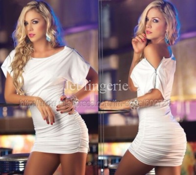 Hot Sale Women White Black Zipper Clubwear Club Dress With G-string Free shipping 8817 | Amazing Shoes UK
