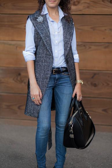 blogger jacket sunglasses bag tartan jeans jewels Belt alterations needed