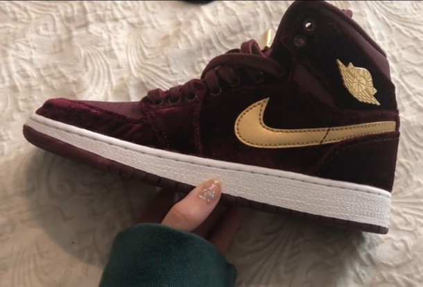 cheap for discount e40c1 d00ad shoes nike jordans sneakers boots heels gold burgundy tumblr burgundy
