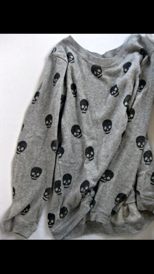 sweater grey jumper skull gray with black skulls grey sweater skull sweater punk