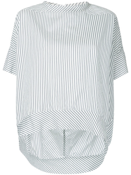 Bassike - striped oval top - women - Cotton - 12, White, Cotton