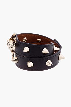 Givenchy Black Studded Wrap Obsedia Bracelet for women | SSENSE
