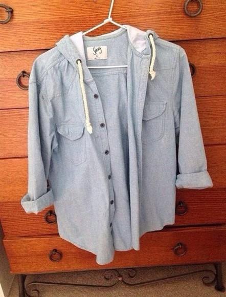 denim shirt blue shirt button up jacket denim jacket hooded jacket drawstring oversized sweater