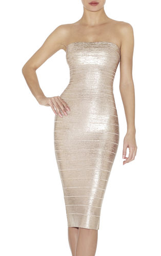 Sianna Woodgrain Foil-Print Strapless Dress | Herve Leger