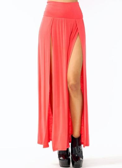 double-slit-maxi-skirt CORAL DKGREY DKPEACH HGREY OLIVE RED TAUPE TEAL - GoJane.com