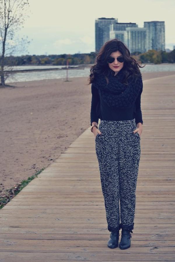the sams sweater scarf pants sunglasses