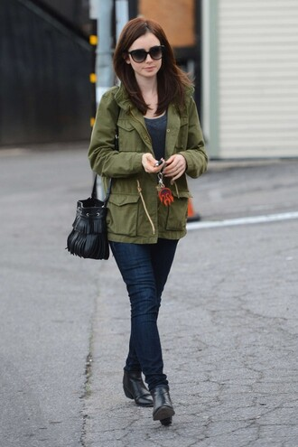 jacket jeans lily collins fall outfits olive green