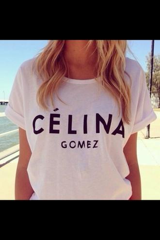 shirt celine selena gomez selena gomez white t-shirt