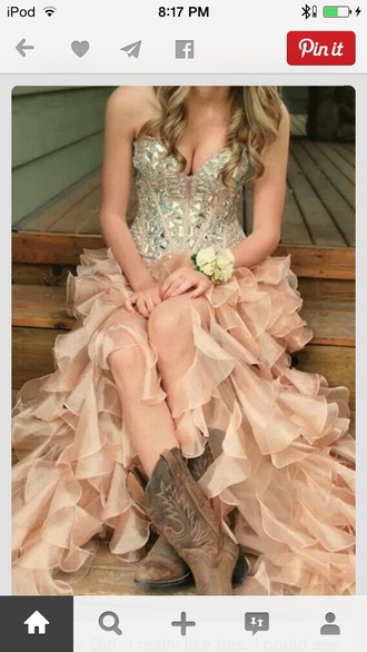 high low sherri hill champagne prom dress high-low dresses ruffles champagne dress