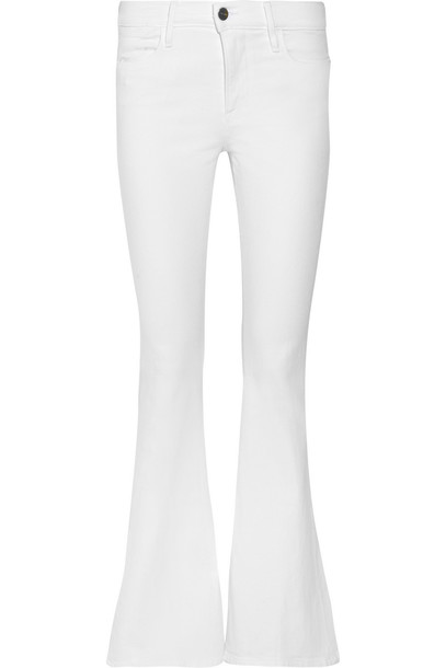 Frame Le High Flare Jeans in white