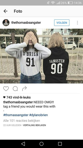 sweater dylan o'brien thomas sangster 91 love babe t-shirt