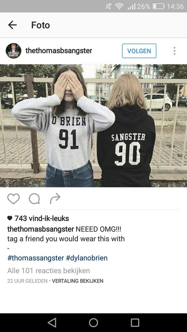 sweater dylan o'brien thomas sangster 91 love babe t-shirt