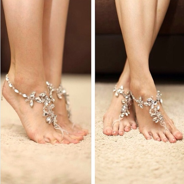 Crystal Barefoot Sandals for Beach Wedding
