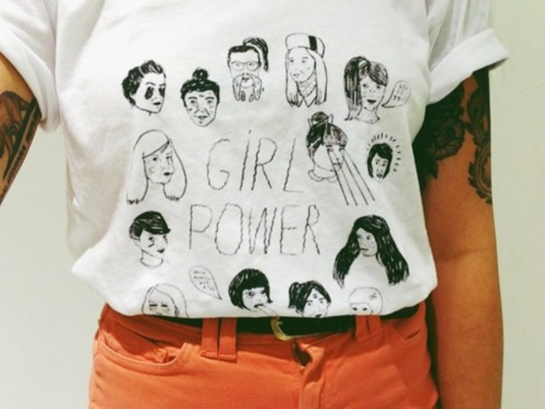 Shirt Girl Power White Black Cute T