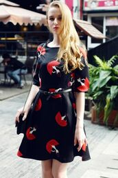 dress,pattern,red and black,a line dress,cartoon,funny