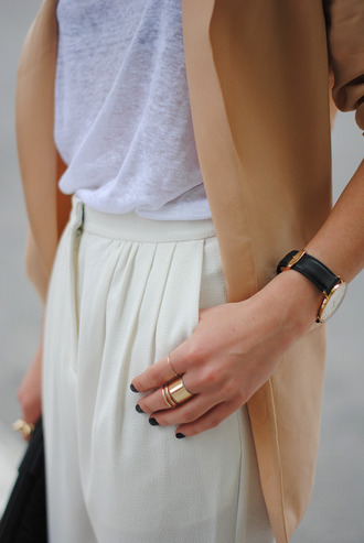 jewels watch black watch gold watch jewelry fashion clothes cream white neutral minimalist jewelry