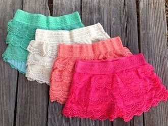shorts blue short pink white lace light pink turquoise