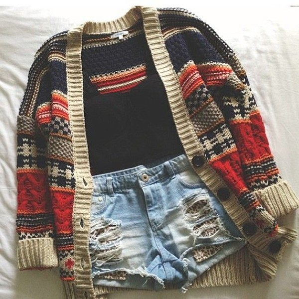 knitted cardigan cardigan knitwear denim shorts distressed denim shorts outfit idea heavy knit jumper