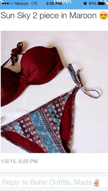 swimwear sun sky 2 piece string in maroon