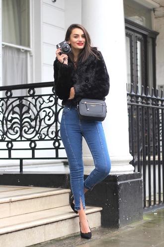 peexo blogger jacket top jeans shoes bag fur coat skinny jeans crossbody bag pumps