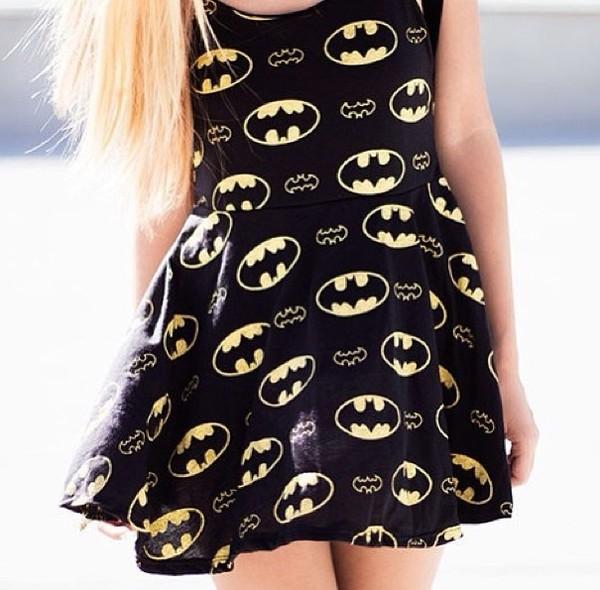 dress cool dark night rices batman cute short dress black dress yellow dress