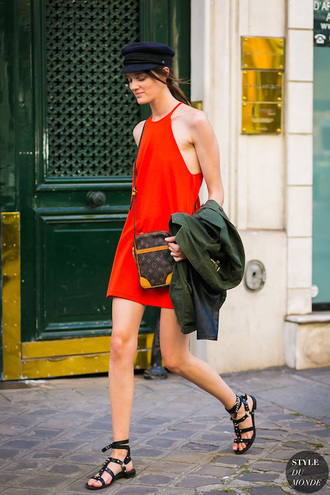 le fashion image blogger dress shoes sandals louis vuitton bag red dress mini dress summer outfits summer dress hat tumblr streetstyle halter neck flat sandals black sandals bag cap fisherman cap