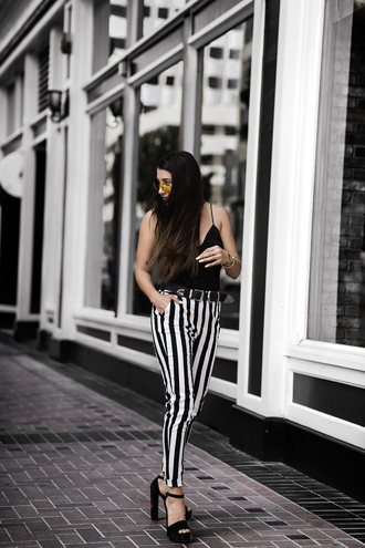 pants top sunglasses tumblr stripes striped pants sandals sandal heels platform sandals black top camisole yellow sunglasses shoes
