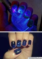 jewels,galaxy print,nail polish,swimwear,glow in the dark,nails,glitter,blue,space,nail accessories