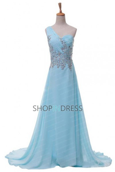 Line one shoulder floor length chiffon blue prom dress with beaded npd2018 sale at shopindress.com