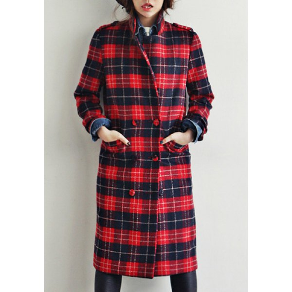 Breasted fashionable lapel long sleeve women's coat (red,one size(fit size xs to m)), jackets & coats
