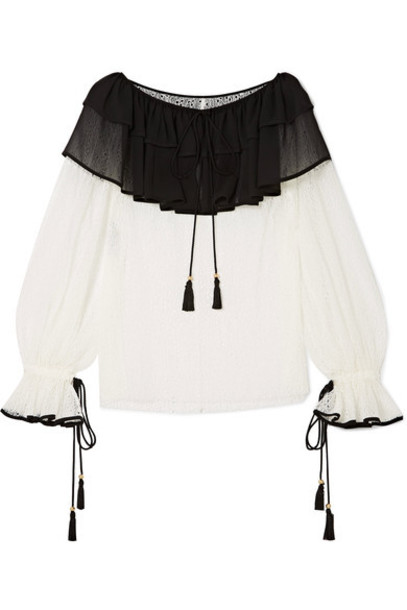 blouse chiffon blouse chiffon ruffle lace white top