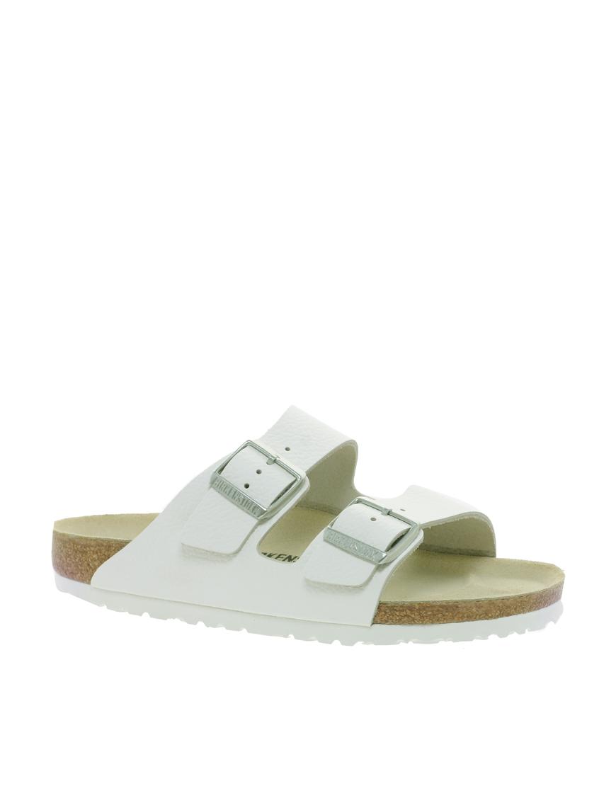 Birkenstock Arizona White Leather Two Strap Sandals at asos.com