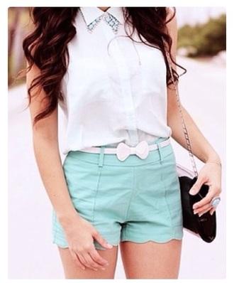 shorts blue shorts blouse top