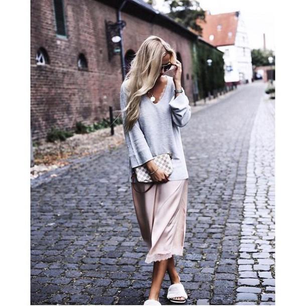 54cbe8b9dfff sweater tumblr grey sweater dress slip dress pink dress midi dress sweater  over dress bag louis
