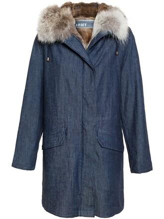 parka denim fur women blue coat