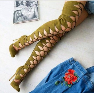 shoes cut-out boots lace up