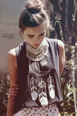hippie tank top statement necklace moon feathers jewels native american