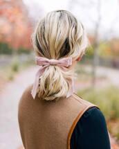 hair accessory,tumblr,hair bow,hair,hairstyles,ponytail,blonde hair